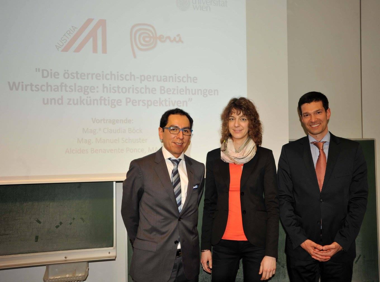 """Vortrag: """"Die österreichisch-peruanische Wirtschaftslage"""" (13. Mai 2015) mit Alcides Benavente Ponce, MA; Mag.a Claudia Böck; Mag. Manuel Schuster"""